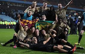 Bradford City celebrate thier victory over Aston Villa in the Capital One Cup Semi-Final.